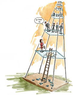 "Illustration of glass ceilings metaphor: ""So c'mon up."""